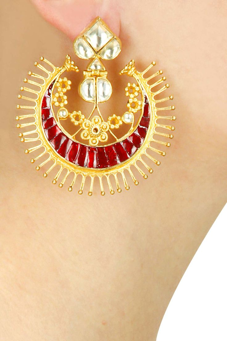 White stones and red enamel chandbalis available only at Pernia's Pop-Up Shop.