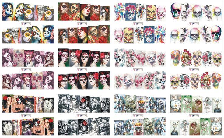 12 Sheets/Lot Nail BN181-192 Voodoo Meisje Bloem Schedel Volledige Cover Nail Art Water Wraps Sticker Sticker Voor Nail (12 ONTWERPEN IN 1)