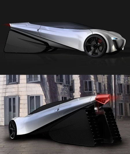 ♂ The Forms is a futuristic car concept that incorporates the change of future world into its shape to make it sustainable from different aspects. This single seater car features a sleek metallic surface with glossy finish on an extraordinarily designed body that will generate strong appeal on the users. The traditional front side of the car drastically conflicts the unique conic rear portion that covers the rear wheel too, giving it a look like heat sinks.