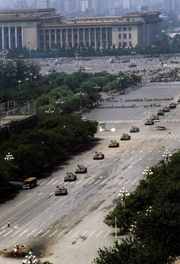 "Tank Man At Tiananmen Square On June 5, 1989 in Beijing, an unidentified man commonly known as ""Tank Man"" helped create history's most iconic image of resistance when he stood down four Chinese tanks amid the Tiananmen Square protests against political corruption and oppression."