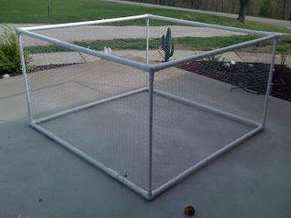 DIY Dog Toy with pvc and pvc and chicken wire and zip tie cage