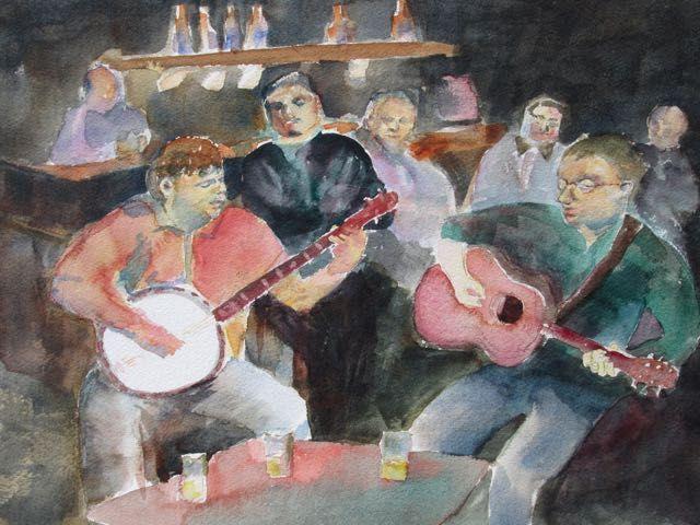 Singing Pub, watercolour, Bob McQueen