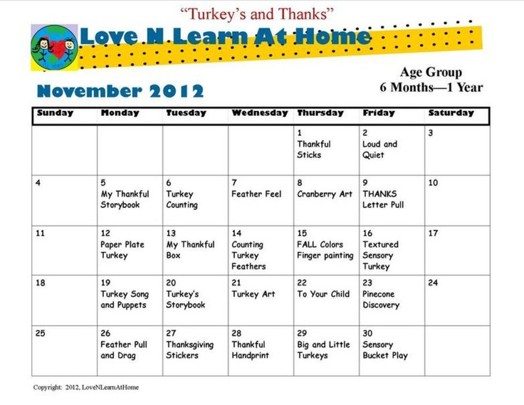 November Infant Curriculum Calendar Books Worth Reading