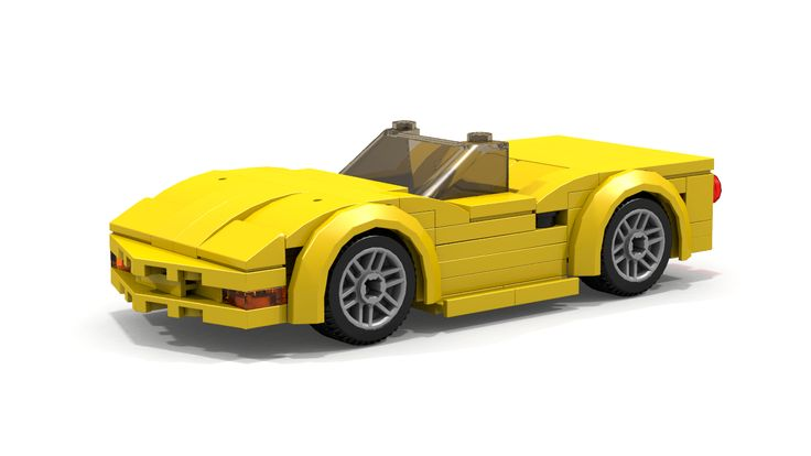 Custom instructions on how to build 6-stud wide LEGO Chevrolet Corvette C5 convertible sports car for your LEGO City theme.