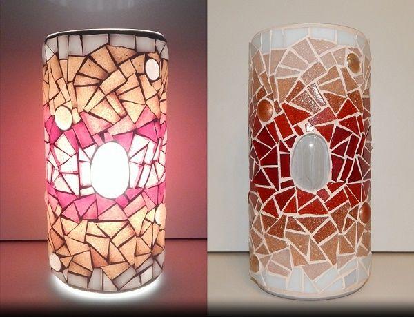 ENERGY MOSAIC LAMP;  made of: glass mosaic, glass nougat;  width: 11cm, height: 22cm; price: 61 EUR / 49 GBP / 69 USD; © Gabor Abraham mosaic art