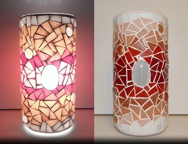 ENERGY MOSAIC LAMP;  made of: glass mosaic, glass nougat;  width: 11cm, height: 22cm; price: 61 EUR / 49 GBP / 69 USD; © Gabor Abraham mosaic art