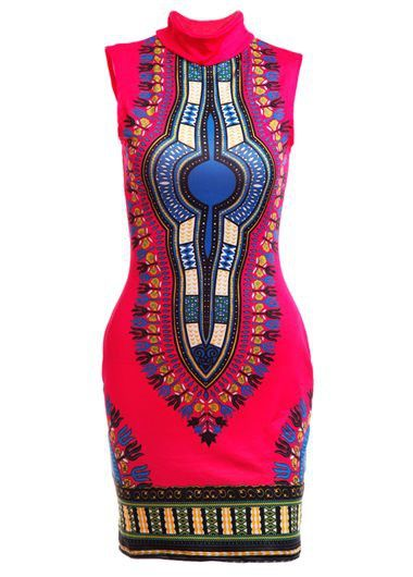 High Waist Sleeveless Printed Rose Dashiki Dress on sale only US$21.36 now, buy cheap High Waist Sleeveless Printed Rose Dashiki Dress at lulugal.com