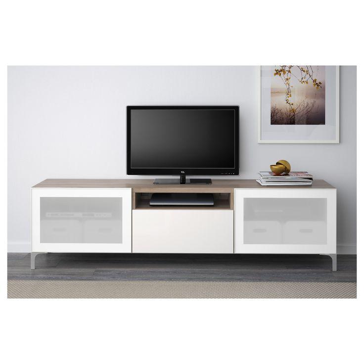 IKEA - BESTÅ TV bench walnut effect light gray, Selsviken