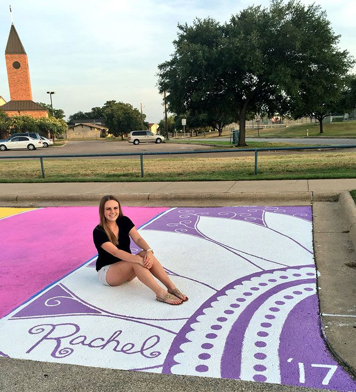 High School Seniors: Paint Their Parking Spots And Their Art Goes Viral On Twitter | Bored Panda