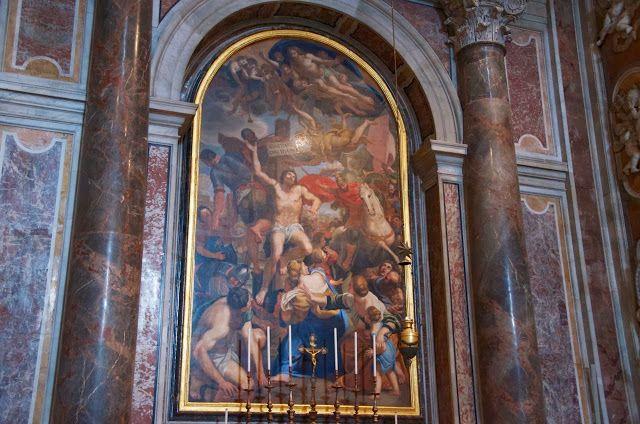 """Ciao,bella Италия...: Собор Святого Петра. Ватикан Капелла Сан-Себастьяно. (76 на плане собора)  Мозаика """"Смерть Святого Себастьяно""""с оригинала, 1614 г., художника Domenichino, хранящийся в Пинакотеке Ватикана."""