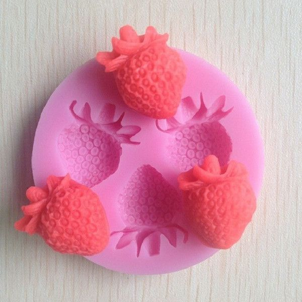 Silicone Forme Fraise Fondant moule à cake , chocolat Bougie Savon moule, Ustensiles Outils de bricolage(China (Mainland))