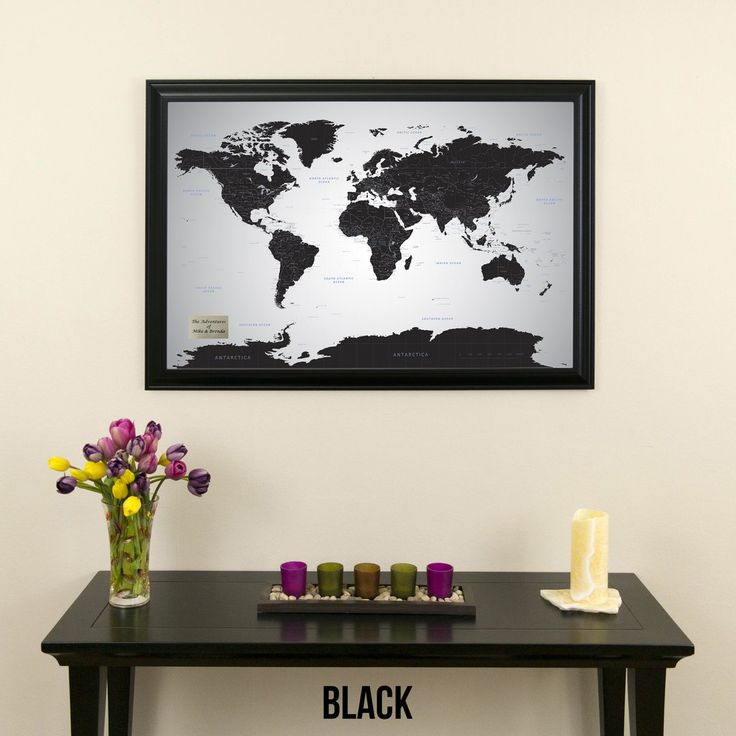 Black Ice World Travel Map With Pins