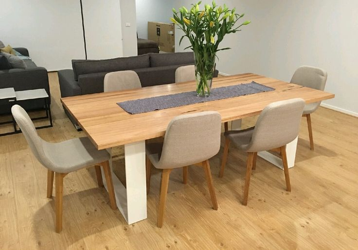 Recycled messmate dining table with white flat bar metal legs