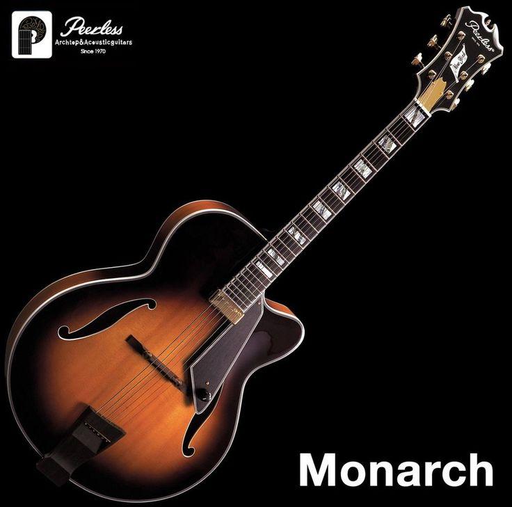 "Peerless Monarch Full Hollow Body Archtop Jazz Electric Guitar Sunburst 17"" OHSC #Peerless"