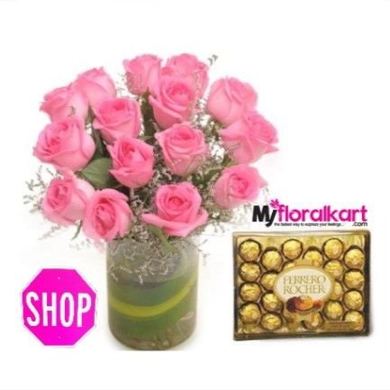 """""""Pink Roses Bouquet with Ferrero Rocher Chocolate box"""".  Myfloralkart.com offers same day online #Pink_Roses & #Chocolate delivery in India at the best prices for #valentines, #birthday, #anniversary, #mother's_day and other #Occasions. #myfloralkart #valentinesgiftideas #send_flowers_to_india  Contact: +91-9899886258"""