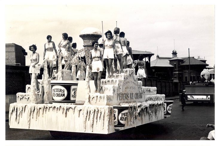"""Image 21806123 - The Peter's Ice Cream Float proclaims """"Stepping to Health with Peter's"""" and formed part of the """"Australia's March to Nationhood"""" parade on January 26th, 1938. This image was taken in Driver Avenue, Moore Park. [RAHS Australia Day 1938 - Sesquicentenary Celebrations Collection]"""