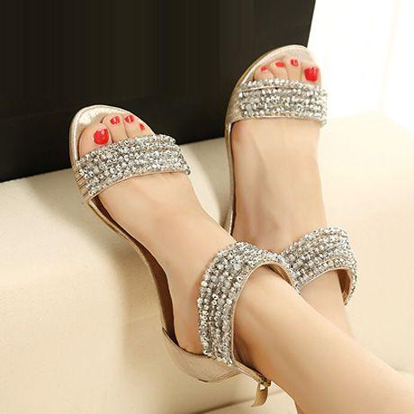 Ethnic Style Rhinestone & Bead Gold Flat Sandals