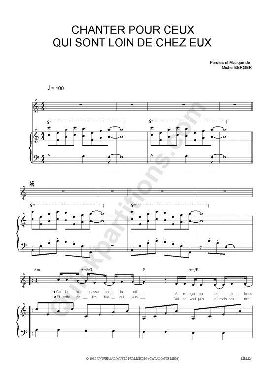 Partition Piano Chanter Pour Ceux Qui Sont Loin De Chez Eux - Michel Berger