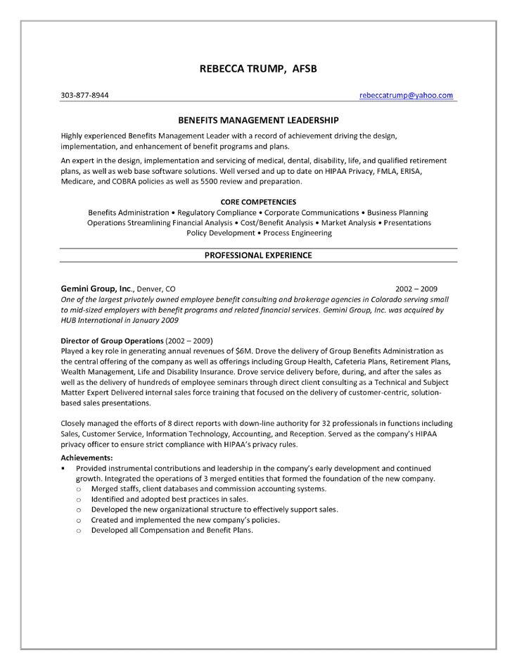 Benefits management leadership resume sample 2020 in 2020