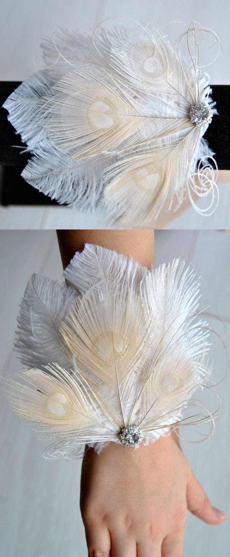 A Great Gatsby Style Wrist Corsage $12.00 will definitely catch everyone's eye. Made of ostrich and peacock feathers embellishment with rhinestone centre.  This wristlet corsage is perfect for weddings, special events, proms, new years eve and Christmas parties with art deco 1920's theme. #wristcorsage #ostrichfeathers #christmasparty #gatsbyparty #newyearseve #flappergirls #Gatsby #affiliatelink #etsyfinds