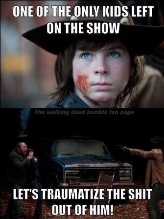 Poor Carl. At least they're sticking more to the comics now! Oh wait...that means....OH FUCK. Carl better keep ONE EYE OPEN if you know what I mean
