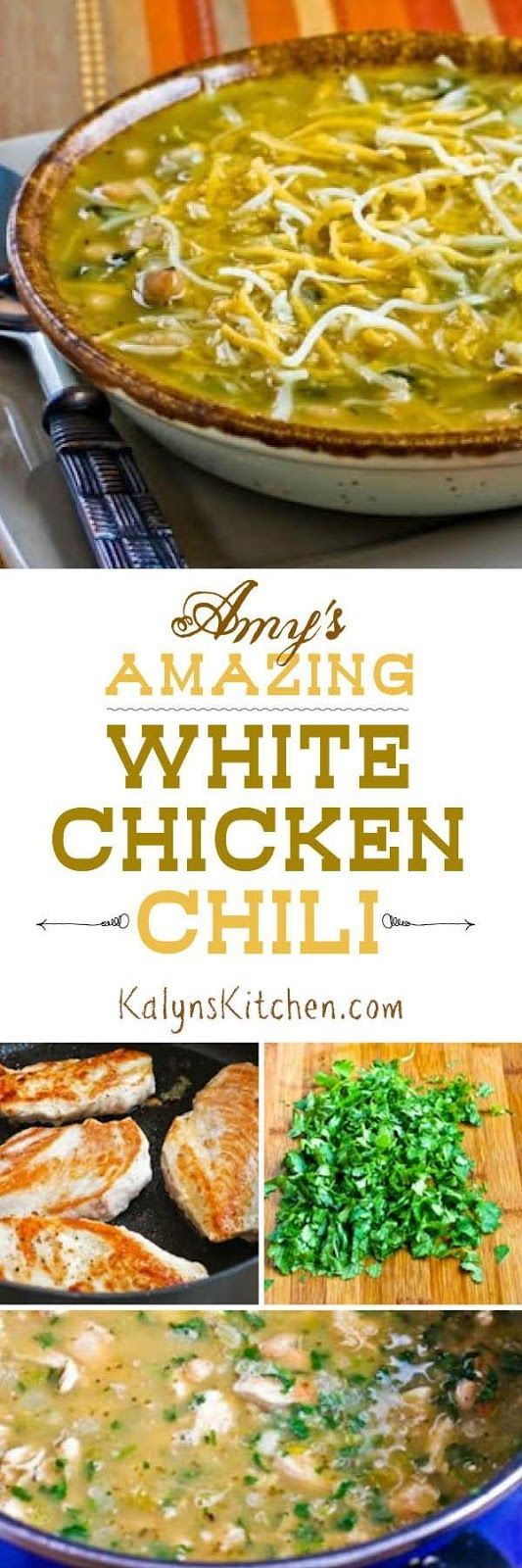 Amy's Amazing White Chicken Chili is a recipe I got from my sister-in-law Amy, and this recipe really is amazing. You can make it with leftover rotisserie chicken or turkey as well if you have some on hand. For a lower-carb version, use more chicken and only one can of beans. [found on KalynsKitchen.com]