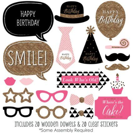 Amazon.com: Chic Happy Birthday - Pink, Black and Gold - Birthday Photo Booth Props Kit - 20 Count: Toys & Games