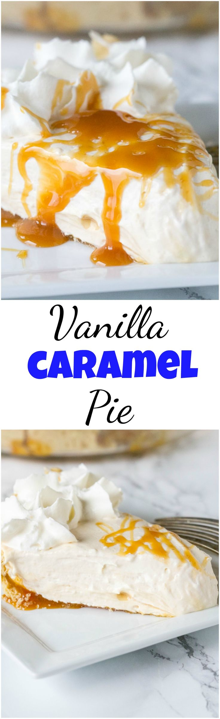 Vanilla Caramel Pie – An easy vanilla cream pie with lots of caramel mixed in.  Topped with homemade whipped cream and a caramel drizzle. Great for holiday entertaining! #pie #caramel #vanillacreampie #dessert #baking #holidaydessert