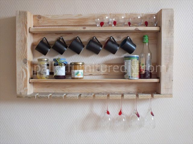 Pallet Kitchen Shelves for Storage                                                                                                                                                                                 Mais