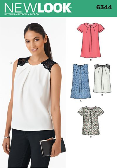 N6344 ** Misses' Tops ** FABRICS: Batiste, Challis, Charmeuse, Cotton Lawn, Cotton Types, Crepe De Chine, Double Georgette, Faille, Silky Types, Voile. D Contrast Yoke in Galloon Edged Lace.