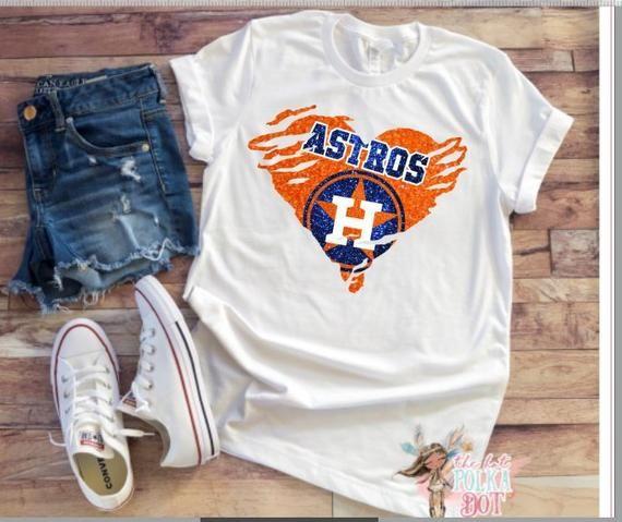 d58d5798 Houston Astros Heart Shirt, Ripped Heart Astros Baseball Shirt ...