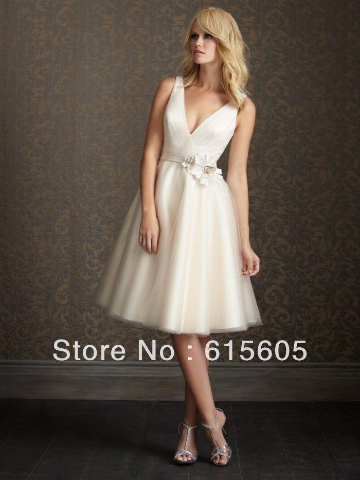 Semplici abiti da sposa avorio breve spiaggia di abiti da sposa abiti da sposa sexy profondità V- collo vendita calda nuovo zip e bot...