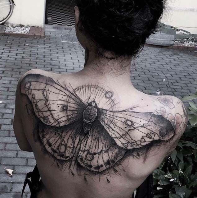 手机壳定制cheap clothing online stores for juniors Full Back Butterfly Tattoo by Kamil Mokot