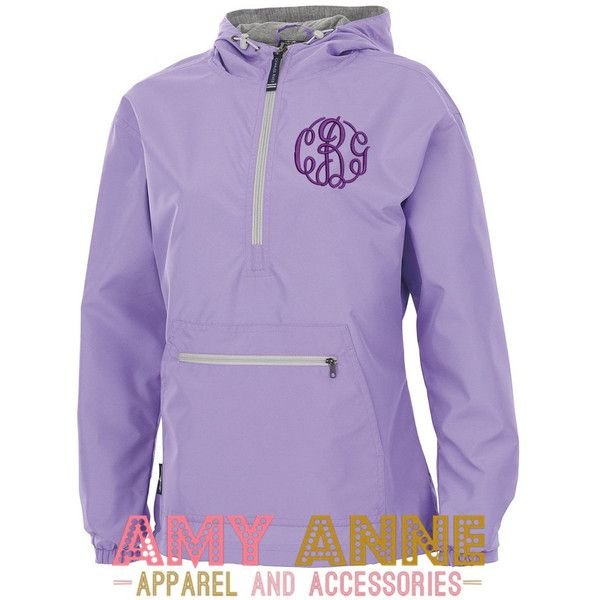 Charles River Monogrammed Light Purple Pullover Rain Jacket by Charles... (22.905 CLP) ❤ liked on Polyvore featuring navy and women's clothing