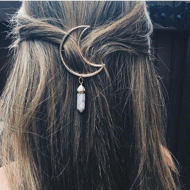 Crystal Moon Hair Clips at YuvaKala.com