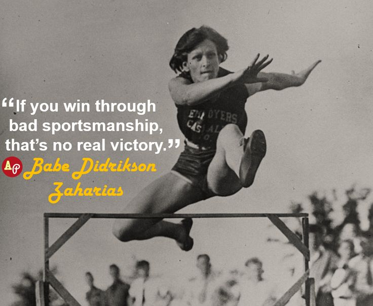 """""""If you win through bad sportsmanship, that's no real victory."""" – #BabeDidriksonZaharias https://www.facebook.com/Classicsportsphotos-340734696058372/timeline/"""