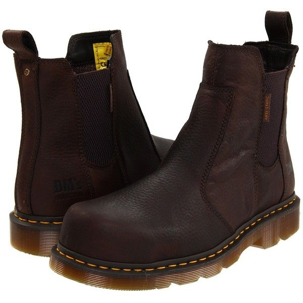Dr. Martens Fusion ST (Bark Industrial Bear) Boots ($91) ❤ liked on Polyvore featuring shoes, boots, burgundy, safety toe boots, burgundy boots, slip resistant shoes, steel toe cap boots and steel toe work boots