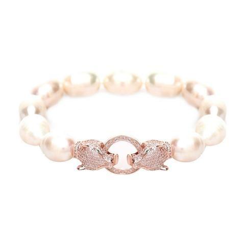 Chelsea Crystal Tiger & Off White Fresh Water Pearl Bracelet