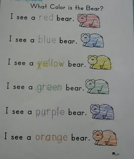 Brown Bear Brown Bear...good sheet for Kindergarten to incoperate color sight words?
