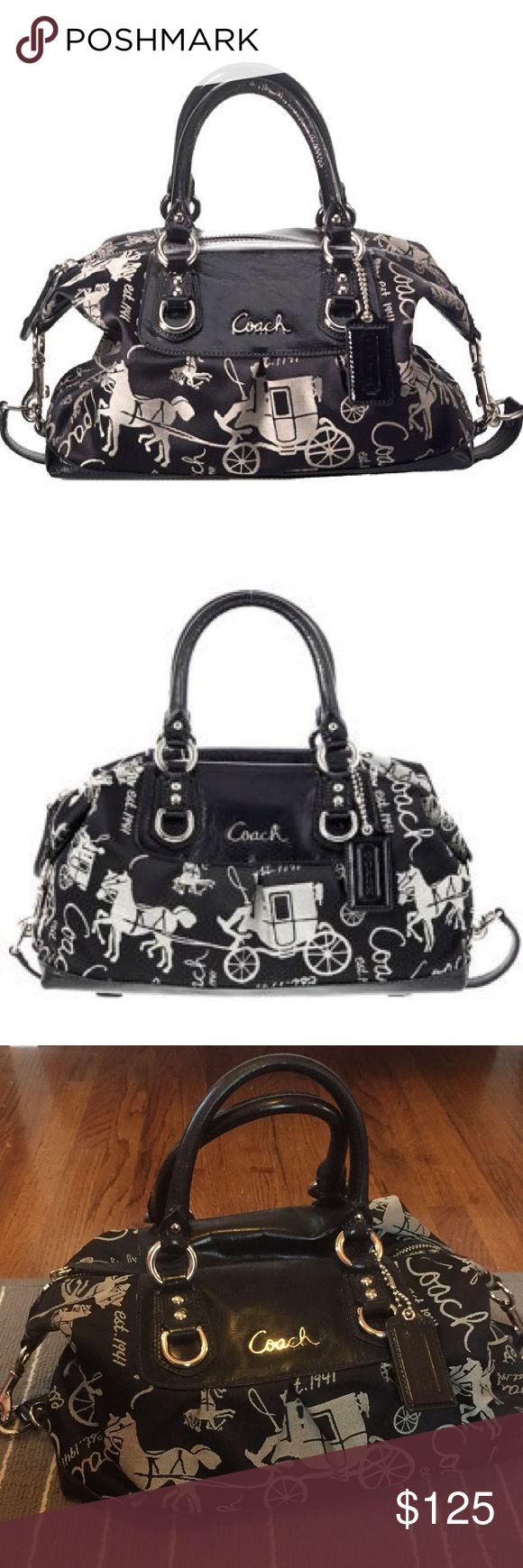 """Coach """"Ashley"""" bag Coach """"Ashley"""" bag in black with the classic horse and carriage print. Has two short top handles and a long shoulder strap. Excellent condition with no stains. Coach Bags Satchels"""