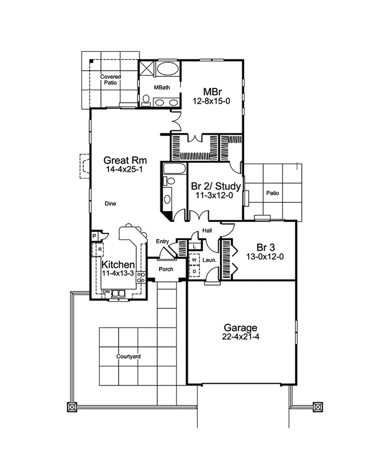 San saguaro florida style home more florida style and for Florida ranch house plans