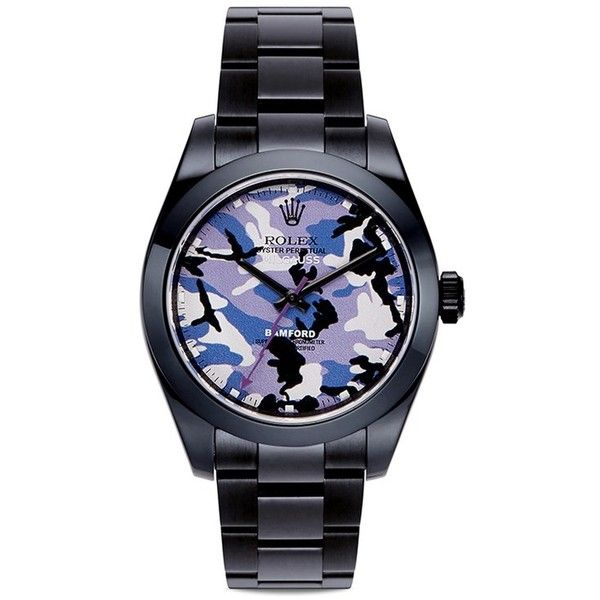Bamford Watch Department Rolex Milgauss camouflage oyster perpetual watch featuring polyvore, women's fashion, jewelry, watches, purple, magnet jewelry, steel jewelry, camouflage jewelry, camo jewelry and camo watches
