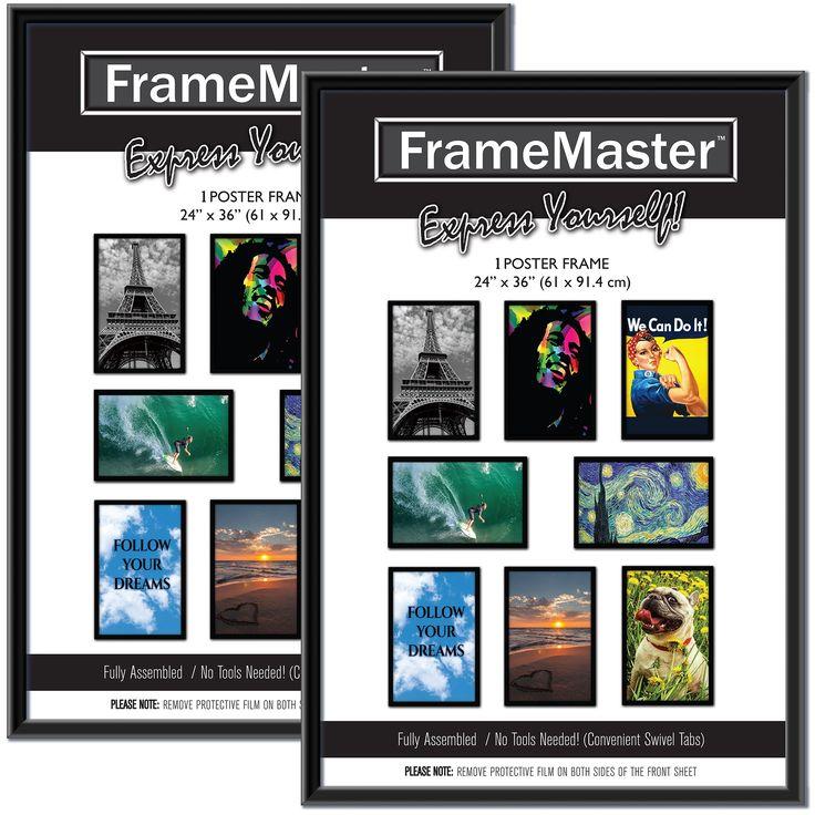 FrameMaster 24x36 Poster Frame (2-Pack); Pre-Assembled with Sturdy MDF Backer Board, Black