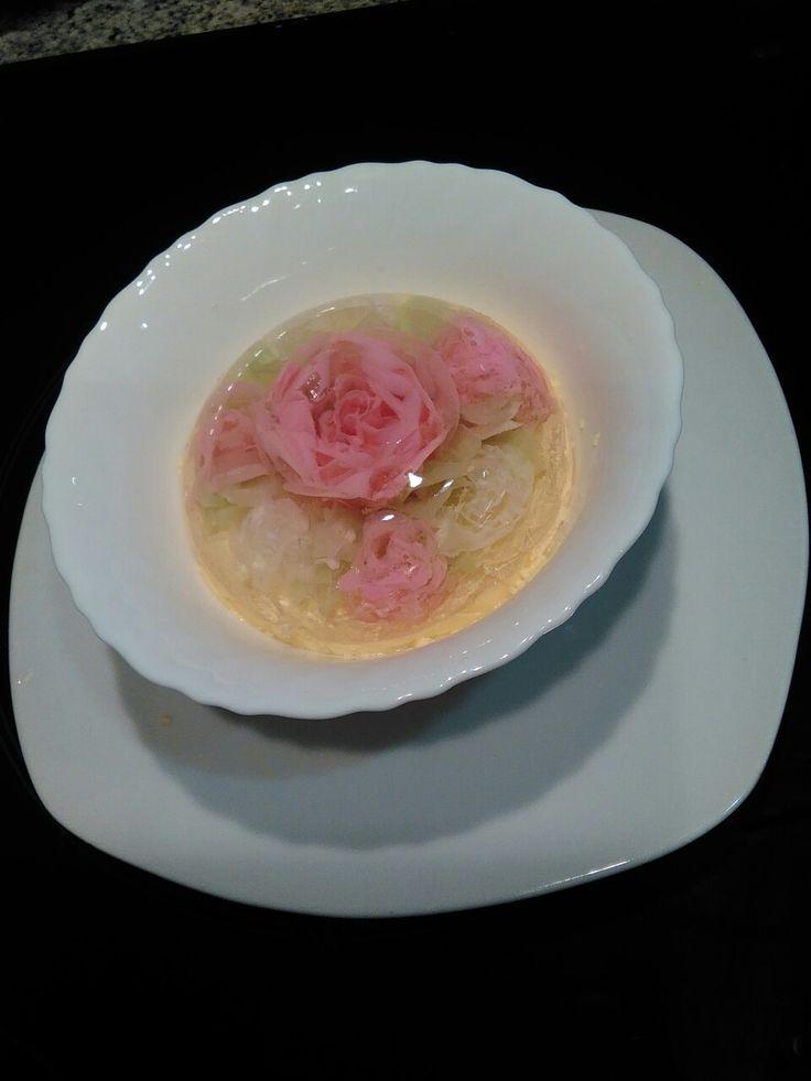 Gelatina artistica,bouquet de vainilla  podtre romántico y molón.