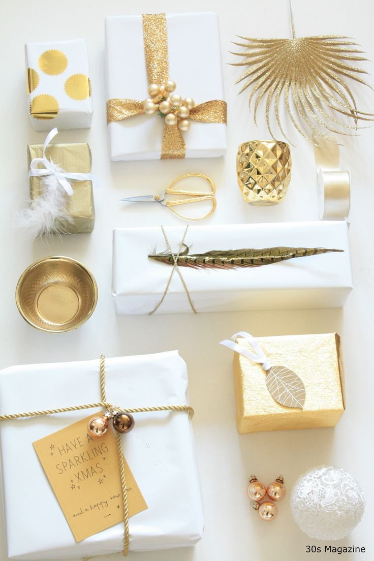 Gift Wrapping in white and gold | Tis The Season | Pinterest | Gift ...