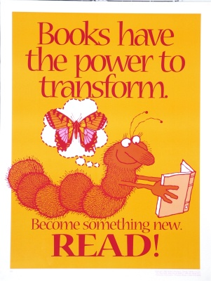 Books have the power to transform: Become something new. Read / Robert Jacobson: design (1996)