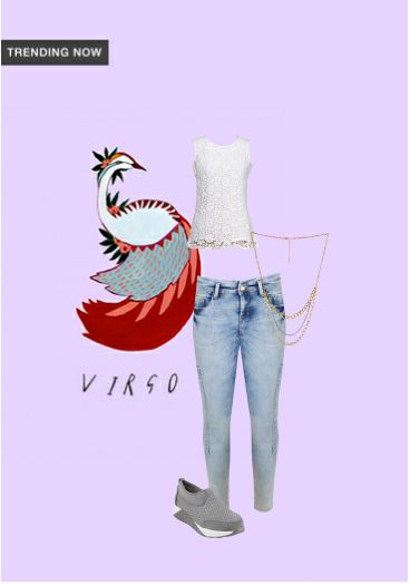 'Virgo' by me on Limeroad featuring Solids White Tops, Mid Rise Blue Jeans with Gold Necklaces