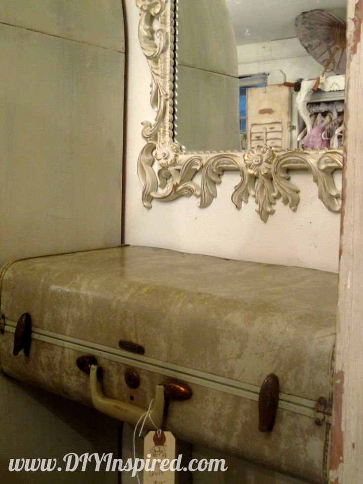 1000 ideas about suitcase shelves on pinterest for Repurposed antiques ideas