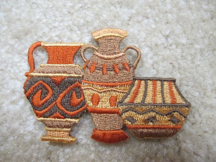 Clay Pot Embroidery Iron On Patch