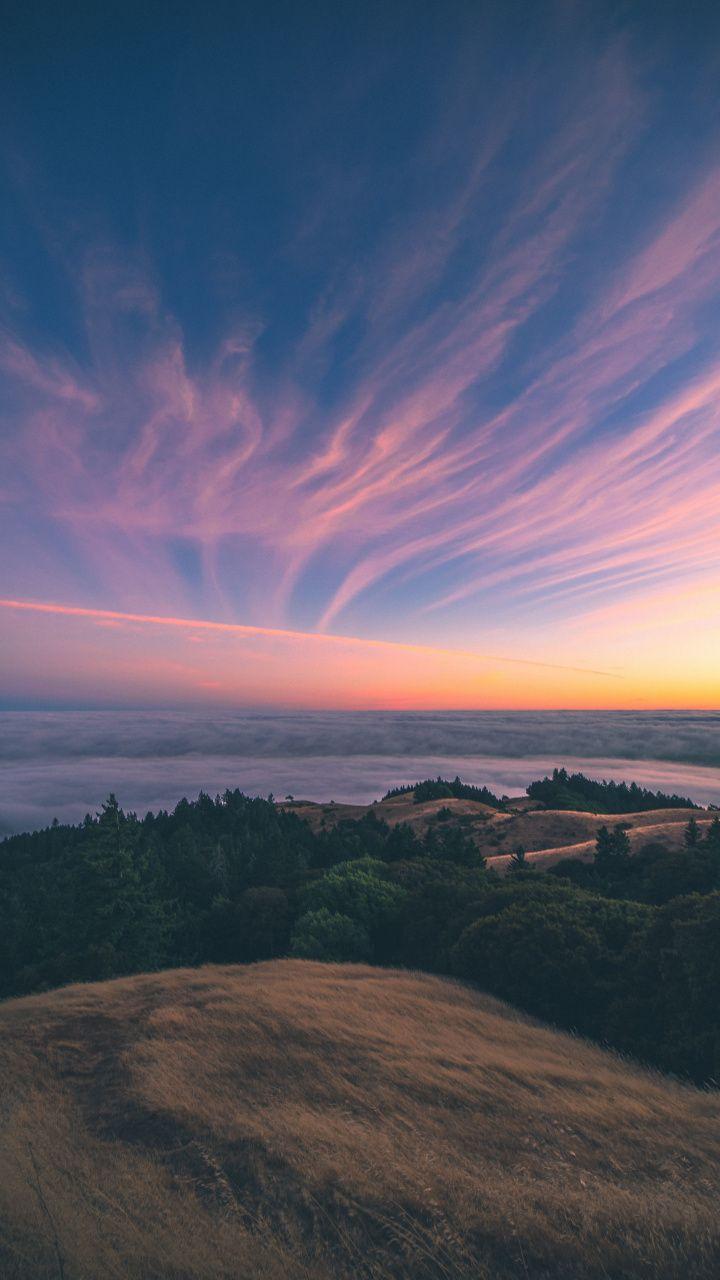 Mount Tamalpais Nature Sunset Sky Clouds 720x1280